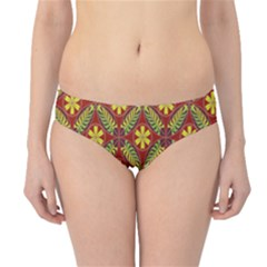 Abstract Yellow Red Frame Flower Floral Hipster Bikini Bottoms by Alisyart