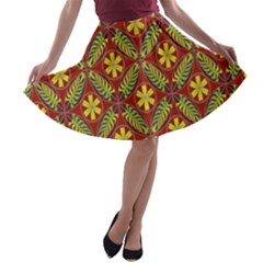 Abstract Yellow Red Frame Flower Floral A Line Skater Skirt by Alisyart