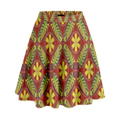 Abstract Yellow Red Frame Flower Floral High Waist Skirt by Alisyart