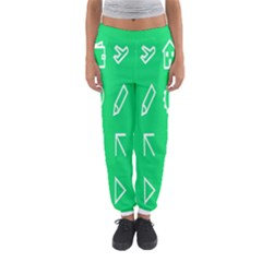 Icon Sign Green White Women s Jogger Sweatpants by Alisyart