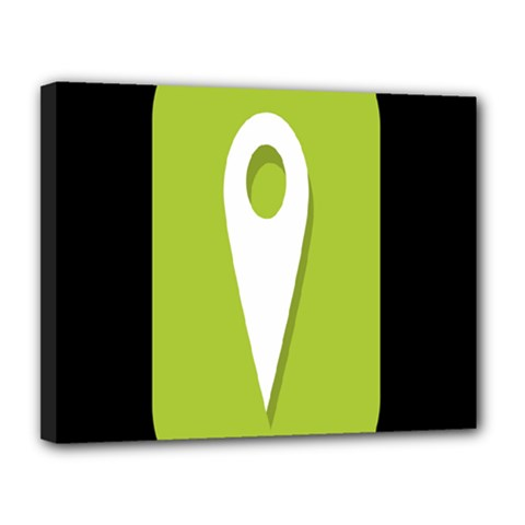 Location Icon Graphic Green White Black Canvas 14  X 11  by Alisyart