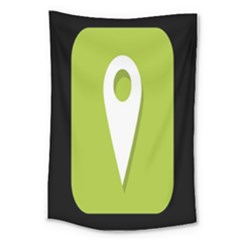 Location Icon Graphic Green White Black Large Tapestry by Alisyart