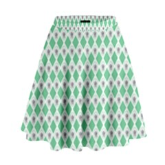 Crown King Triangle Plaid Wave Green White High Waist Skirt by Alisyart