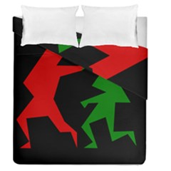 Ninja Graphics Red Green Black Duvet Cover Double Side (queen Size) by Alisyart