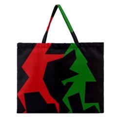 Ninja Graphics Red Green Black Zipper Large Tote Bag by Alisyart