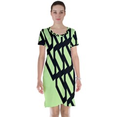 Polygon Abstract Shape Black Green Short Sleeve Nightdress by Alisyart