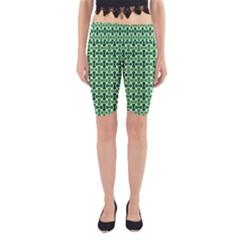 Green White Wave Yoga Cropped Leggings by Alisyart
