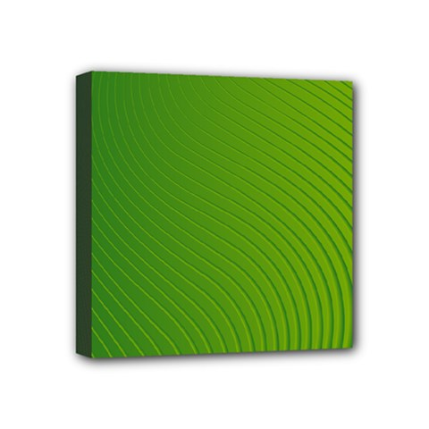 Green Wave Waves Line Mini Canvas 4  X 4  by Alisyart