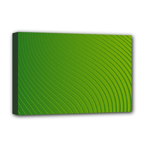 Green Wave Waves Line Deluxe Canvas 18  X 12   by Alisyart
