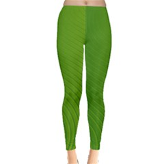 Green Wave Waves Line Leggings  by Alisyart