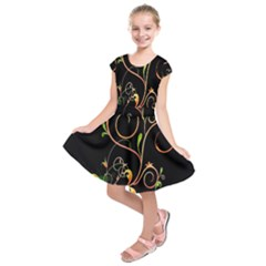 Flowers Neon Color Kids  Short Sleeve Dress