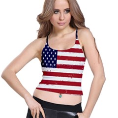 Flag United States United States Of America Stripes Red White Spaghetti Strap Bra Top by Simbadda