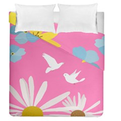 Spring Flower Floral Sunflower Bird Animals White Yellow Pink Blue Duvet Cover Double Side (queen Size) by Alisyart