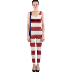 Flag United States United States Of America Stripes Red White Onepiece Catsuit by Simbadda