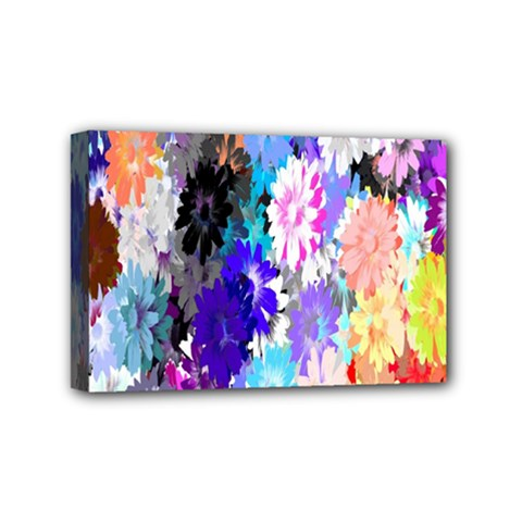 Flowers Colorful Drawing Oil Mini Canvas 6  X 4  by Simbadda