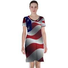 Flag United States Stars Stripes Symbol Short Sleeve Nightdress by Simbadda