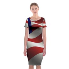 Flag United States Stars Stripes Symbol Classic Short Sleeve Midi Dress by Simbadda