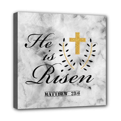 He is Risen Marble Mini Canvas 8  x 8  (Framed) by makeunique