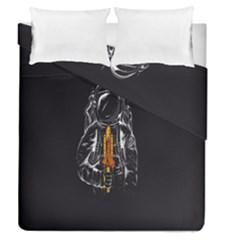 Humor Rocket Ice Cream Funny Astronauts Minimalistic Black Background Duvet Cover Double Side (Queen Size) by Simbadda