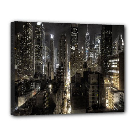 New York United States Of America Night Top View Canvas 14  x 11  by Simbadda