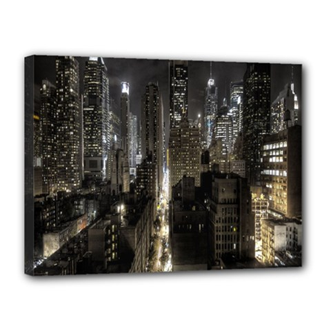 New York United States Of America Night Top View Canvas 16  X 12  by Simbadda