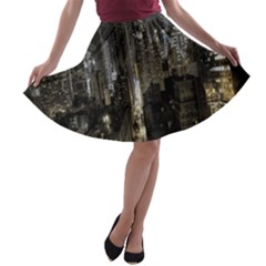 New York United States Of America Night Top View A Line Skater Skirt by Simbadda