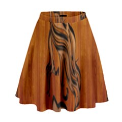Pattern Shape Wood Background Texture High Waist Skirt by Simbadda