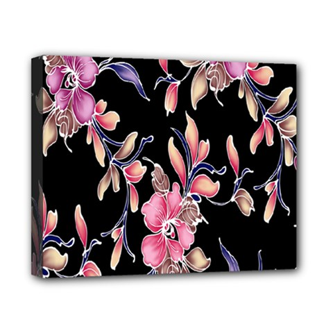 Neon Flowers Black Background Canvas 10  X 8  by Simbadda