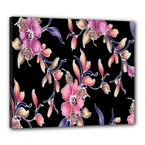 Neon Flowers Black Background Canvas 24  X 20  by Simbadda