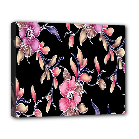 Neon Flowers Black Background Deluxe Canvas 20  X 16   by Simbadda
