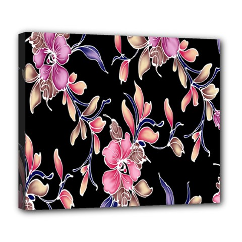 Neon Flowers Black Background Deluxe Canvas 24  X 20   by Simbadda
