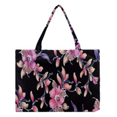Neon Flowers Black Background Medium Tote Bag by Simbadda