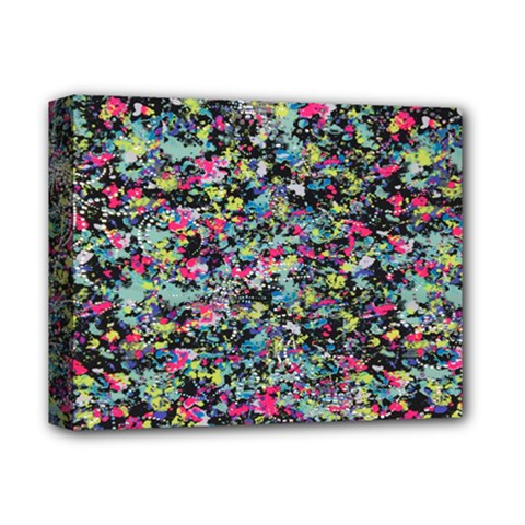 Neon Floral Print Silver Spandex Deluxe Canvas 14  X 11  by Simbadda