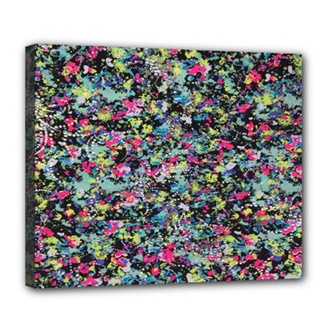 Neon Floral Print Silver Spandex Deluxe Canvas 24  X 20   by Simbadda