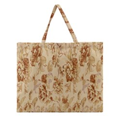 Patterns Flowers Petals Shape Background Zipper Large Tote Bag by Simbadda