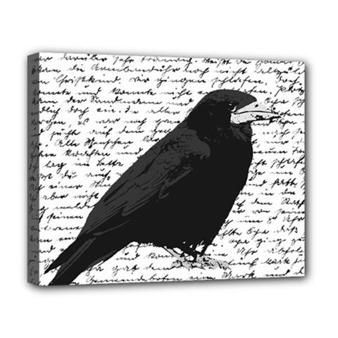 Black Raven  Deluxe Canvas 20  X 16   by Valentinaart