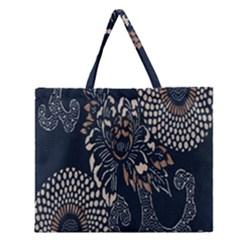 Patterns Dark Shape Surface Zipper Large Tote Bag by Simbadda