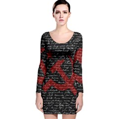 Communism  Long Sleeve Velvet Bodycon Dress by Valentinaart