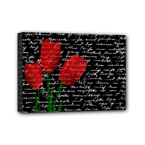 Red Tulips Mini Canvas 7  X 5  by Valentinaart