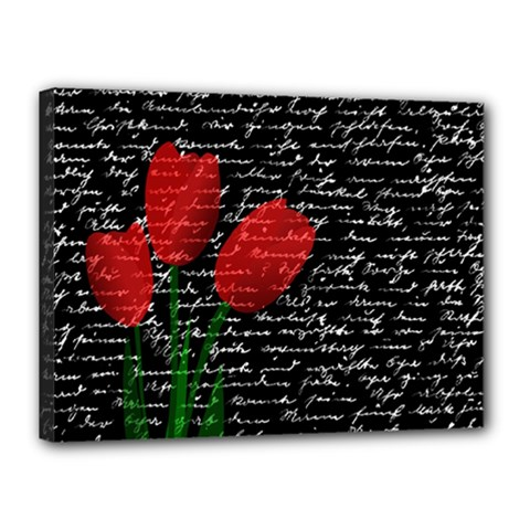 Red Tulips Canvas 16  X 12  by Valentinaart