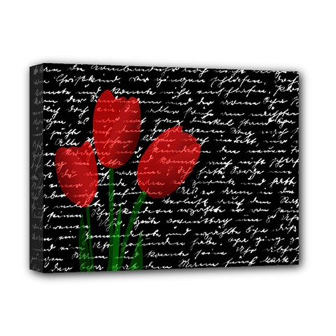 Red Tulips Deluxe Canvas 16  X 12   by Valentinaart