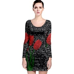 Red Tulips Long Sleeve Bodycon Dress by Valentinaart
