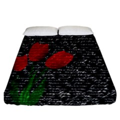 Red Tulips Fitted Sheet (california King Size) by Valentinaart