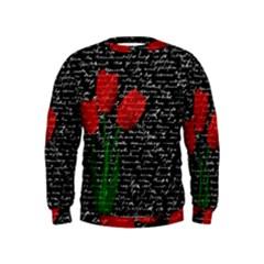 Red Tulips Kids  Sweatshirt by Valentinaart