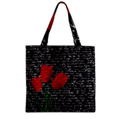 Red Tulips Zipper Grocery Tote Bag by Valentinaart
