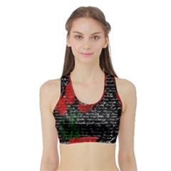 Red Tulips Sports Bra With Border by Valentinaart