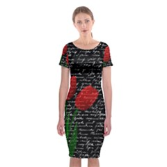 Red Tulips Classic Short Sleeve Midi Dress by Valentinaart