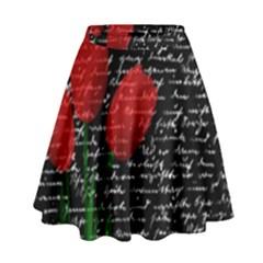 Red Tulips High Waist Skirt by Valentinaart