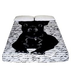 Cute Bulldog Fitted Sheet (queen Size) by Valentinaart