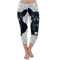 Cute Bulldog Capri Winter Leggings  by Valentinaart